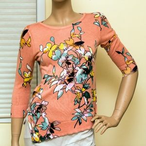 THE LIMITED Floral Quarter-Sleeve Top